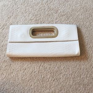 White faux alligator skin clutch from express
